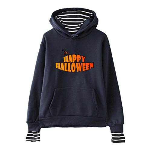 TEFIIR Halloween Sweatshirt für Damen,Kürbis Brief Drucken Pullover Lose Streifenheftung Hoodies Herbst- und Winter Sweaters für Freizeit, Dating und Urlaub -