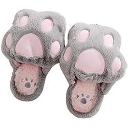 LUOEM Zapatillas de Estar por Casa Zapatillas Peluche Invierno Antideslizante Pantuflas Zapatillas Garras de Animal Mujer (Patas Gato Gris Claro)