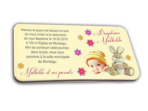 CARTE D'INVITATION en chocolat thème DOUDOU personnalisée avec votre photo et votre texte - pour baptême mariage communion - invitation en chocolat design et moderne jaune et fuschia