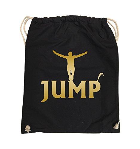 Comedy Bags - JUMP - FIGUR - Turnbeutel - 37x46cm - Farbe: Schwarz / Silber Schwarz / Gold