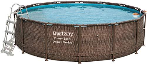 Bestway Power Steel Deluxe, Frame Pool rund mit stabilem Stahlrahmen im praktischen Komplett-Set, 427x107 cm