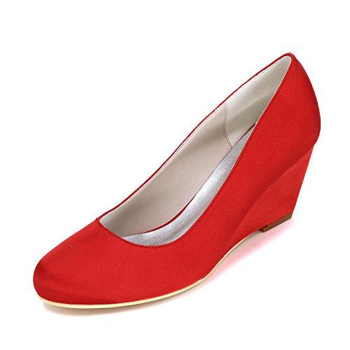 L@YC Pendenza Degli alti Talloni Delle Donne Con La Personalizzazione Dei Pattini Di Cerimonia Nuziale 9140-01 Partito & Scarpe Più Colori Red