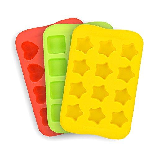 Candy Schokolade Formen Silikon 3Stück DIY Form Verwendung für Kuchen Jelly Gummy Pudding und Ice Cube inkl. Herzen Sterne Squares Mini Muffin Pan