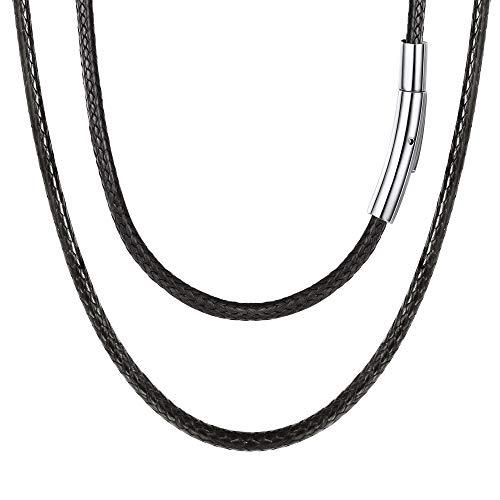 FOCALOOK Halskette/Armband Mode Kunstleder Collier Schwarz Wachsschnur Kette 50CM 3mm breit Geflochten Lederkette Gothic Lederband mit Edelstahl Verschluss für Männer Frauen Jungen Mädchen