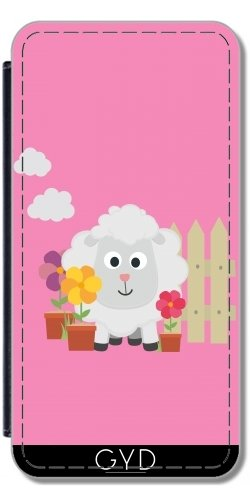 Leder Flip Case Tasche Hülle für Apple iPhone 5/5S - Gartenarbeit Schafe Blumen by ilovecotton Lederoptik