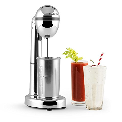 Klarstein van Damme - Drink-Mixer, Getränkemixer, Mini-Standmixer, Milkshake Maker, 100W, 22.000 U/Min, 450 ml Fassungsvermögen, Edelstahl-Mixbecher, Becherhalterung, Cocktail Shaker, silber