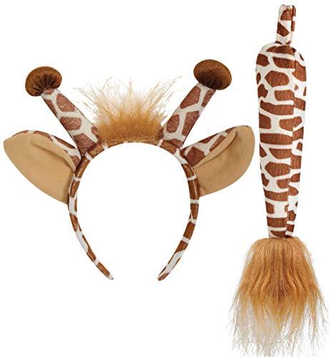 KarnevalsTeufel Giraffen-Set, 2-TLG. Haarreif mit Ohren und Schwanz, Tierkostüm, Animal, Karneval,...