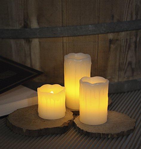 Velas de luz LED con cera verdadera, 3 piezas, parpadeaban sobre 07/05/10 x 5 cm, con pilas, w / w LED