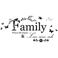 Snner - Wall Sticker Artwork, Multi Styles and Comments (Family Flower Butterfly)