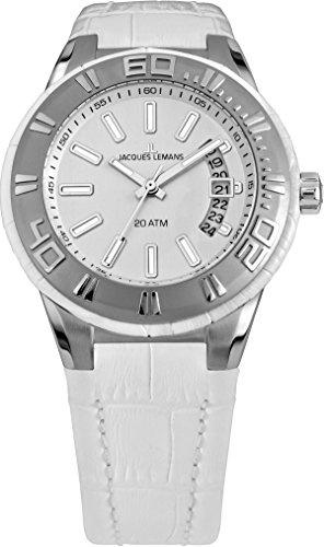Jacques Lemans Women's Miami with Silver Dial and White Leather Strap Watch 1-1771D