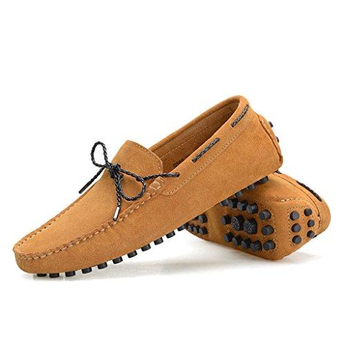 Minitoo Chaussures bateau pour homme en daim avec nœud Marron - marron