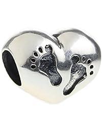 Hunter auténtico de joyería 925 cuentas de plata de ley para recién nacido con colgante de corazón de huellas para pulsera Europea