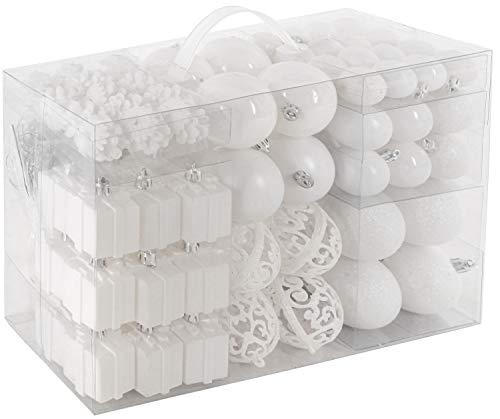 Brubaker set di 101 accessori decorativi per l'albero di natale - addobbi natalizie in color bianco - diverse forme di palline ed un puntale per albero di natale
