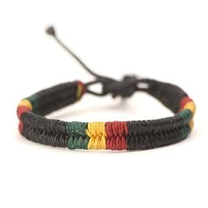 81stgeneration Cotton Rasta Plaited Braided Bob Marley Adjustable Wristband Bracelet, 17-28 cm