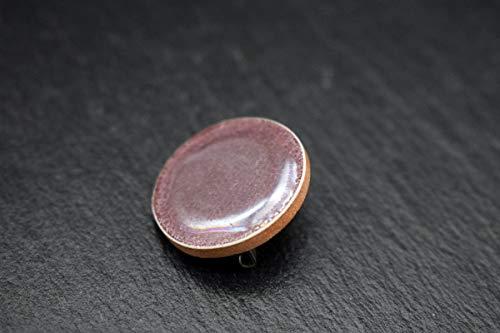 Keramik-Fliesen-Designer-Schmuck Brosche rund für Damen aubergine Handmade Ansteck-Nadel-Pin -