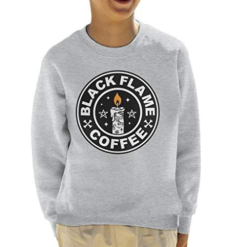 Cloud City 7 90s Hocus Pocus Black Flame Candle Coffee Logo Kid's Sweatshirt