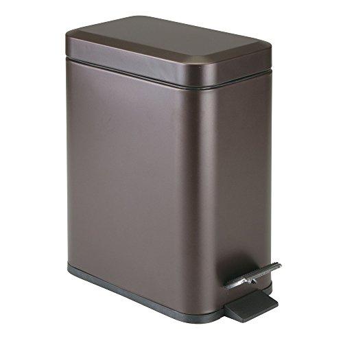 mDesign Cubo de basura rectangular – 5 litros – Compacto contenedor de residuos con cubeta interior para oficina, baño o dormitorio – Moderna papelera de metal y plástico – bronce