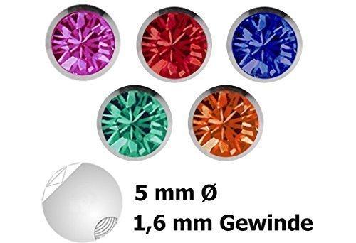 Piercing Verschluss Stahl Kugel Set, 5 x Steinkugeln in 1,6 x 5 mm mit verschiedenen Farben