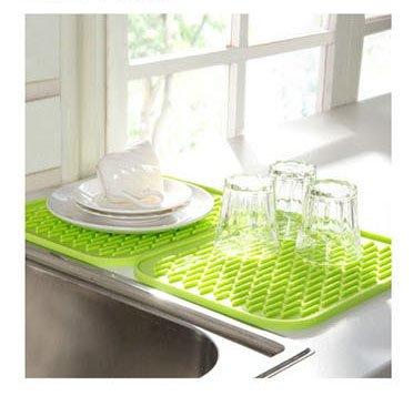 vinallo grün Silikon Küche Abtropfgestell Spüle Abtropfmatte Waschen bis Geschirrtuch