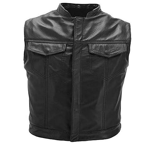 Australian Bikers Gear Motorcycle Bikers Black Revolver Leather Vest Waistcoat Motorbike Cut Off LARGE L