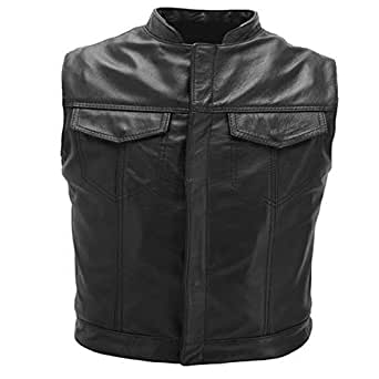 Australian Bikers Gear Motorcycle Bikers Black Revolver Leather Vest Waistcoat Motorbike Cut Off MED M