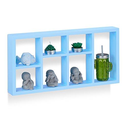 Relaxdays scaffale sospeso da parete, mensola sospesa per bambini, mensola per scaffale in legno, sottile, mdf, axlxp: 30,5x 61x 7,5cm, colore blu