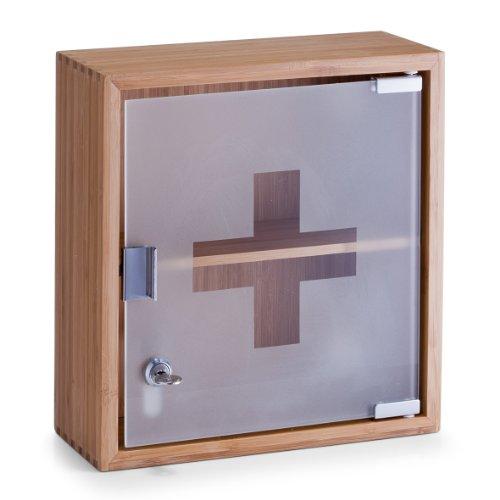 Medizinschrank für das Badezimmer aus Bambus und Glas
