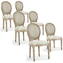 INTENSEDECO Lot De 6 Chaises Mdaillon Louis XVI Tissu Beige
