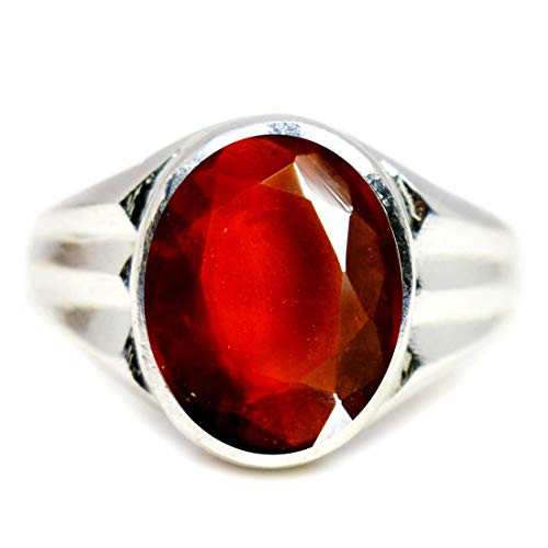 jewelryonclick 5,5?ct Hessonit Granat Stein Original natur 925?Sterling Silber Mark Ring f?r Herren - 66 (21.0) (Hessonite Granat Ring)