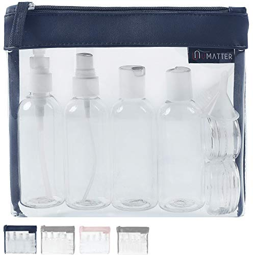 umatter ® Flugzeugbeutel, Kulturbeutel transparent für Flüssigkeiten im Handgepäck mit 6 Reiseflaschen max. 100ml, durchsichtige Kulturtasche, 1 Liter Reiseset, Kosmetiktasche, Reisezubehör -
