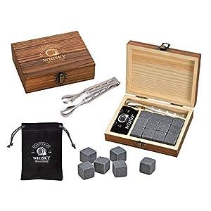WOMA Whisky Steine Set, 12 Wiederverwendbare Kühlwürfel aus Basalt mit Samtbeutel, hochwertiger Holzbox und Edelstahl Zange, Geschmacksneutral, Kein Verwässern für Whiskey, Wodka, Gin und Mehr