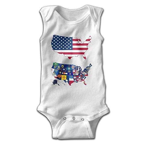 FAVIBES Tutina per Neonato Senza Maniche USA Bandiera dello Stato Americano Mappa Tuta per Neonato e Ragazza Tuta in Cotone 100% Taglia 18 M
