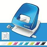 Leitz 50081036 Locher (30 Blatt, Anschlagschiene mit Formatvorgaben, Metall, WOW) metallic blau
