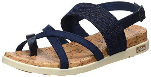 s.Oliver Damen 28116 Offene Sandalen mit Keilabsatz, Blau (Denim Comb 803), 38 EU