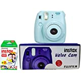 Fuji Instax Mini 8 Value Cam Instant Camera - Combo Offer (Camera + 20 Instant Films) (Blue)