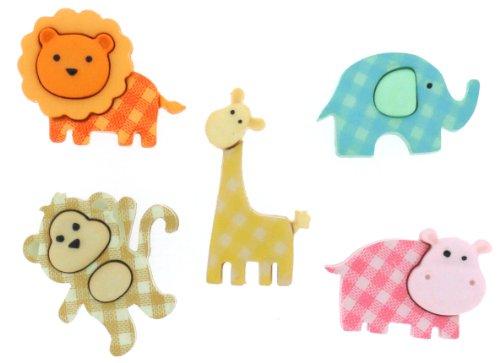 Récréatys 7112 06962 - confezione di bottoni decorativi a forma di animali dello zoo a quadretti, in nylon