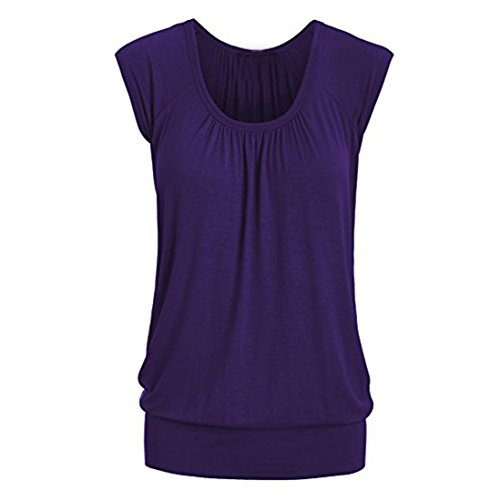 VEMOW Elegante Frauen Damen Sommer Casual Rundhals Solide Lose Beiläufige Tägliche Kurzarm T-Shirt Top Bluse Pulli Tees(Violett, EU-42/CN-L) (Zeichen Tee Logo)