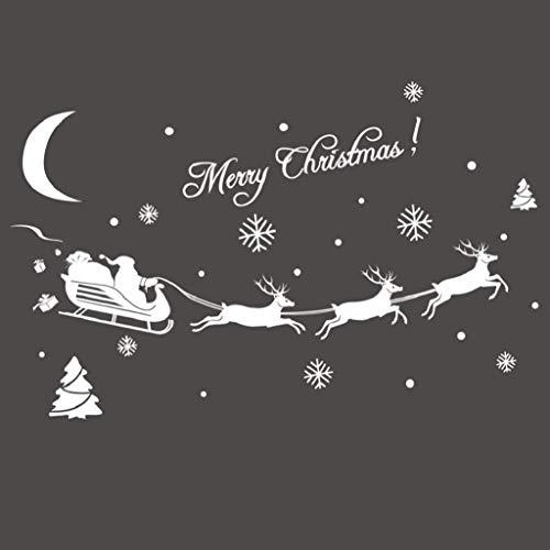 ilder Weihnachtssticker,Weihnachtsmann Rentier Fensterdeko Fensteraufkleber Fenstersticker Weihnachtsdeko Wandaufkleber Wandtattoo Wandsticker Aufkleber PVC Wanddeko Party ()
