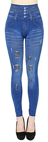 High Waist Slim Leggings Damen Jeggings Destroyed Look mit Löcher Risse - OneSize Gr.36-40 - JL060