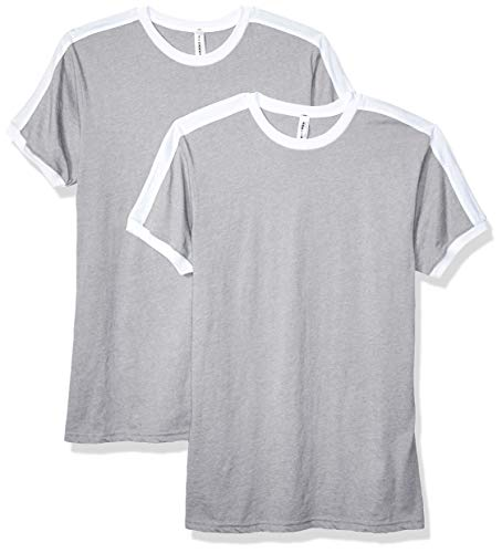 Mens Heather Ringer T-shirt (AquaGuard Herren LAT Soccer Ringer Fine Jersey 2 Pack T-Shirt, Heather/White, Mittel)