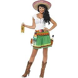 Smiffys Disfraz de tiradora de tequila, con vestido, cinturón a rayas y cinturón con funda de pistolas
