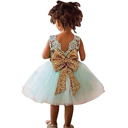 Baby Mädchen Bowknot Spitze Prinzessin Rock Sommer Sequins Kleider für Baby Kleinkinder Kinder 0-5 Jahre alt Hellgrün/80cm - Kleinkind Mädchen Kleid