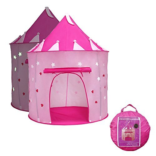 Princess Castle Play Tent with Glow in the Dark Stars, your kids will enjoy this Foldable Pop Up pink play tent/house toy for Indoor & Outdoor Use