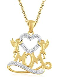 "Silvernshine 1.35 Ct D/VVS1 Diamond Mom Heart Pendant 18"" Chain Necklace In 14K Yellow Gold Fn"