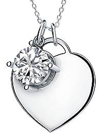 b9083f2691579 Collier Femme Pendentif Coeur Plaqué Platine en Argent 925, Zircon Cubique  de AAA,Cadeaux