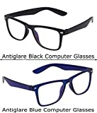 Vast Combo Pack Of 2 Antiglare Computer Glasses Blue & Black (7979Blk 7979Blue)