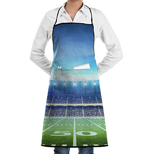 American Football Field Schürze Lace Adult Mens Womens Chef Adjustable Polyester Long Full Black Cooking Kitchen Schürzes Bib with Pockets for Restaurant Baking Crafting Gardening BBQ Grill (Bbq Grill Kostüm)