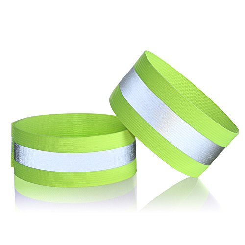 Reflective Safety Armband, Adjustable lightweight and High Visibility for Outdoor Jogging, Cycling, Walking, Motorcycle Riding, or Running --2 Pack