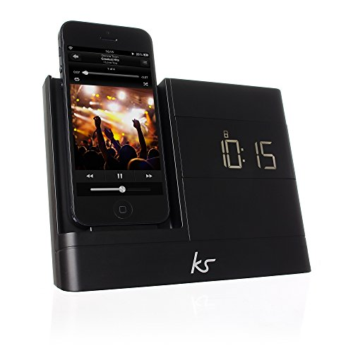 KitSound XDOCK2 Radio Uhr Dockingstation/Ladegerät mit Lightning Anschluss für iPhone 5/5S/5C/SE, iPod Nano 7. Generation and iPod Touch 5. Generation, mit EU Netzstecker - Schwarz Clock Radio Ipod Dock