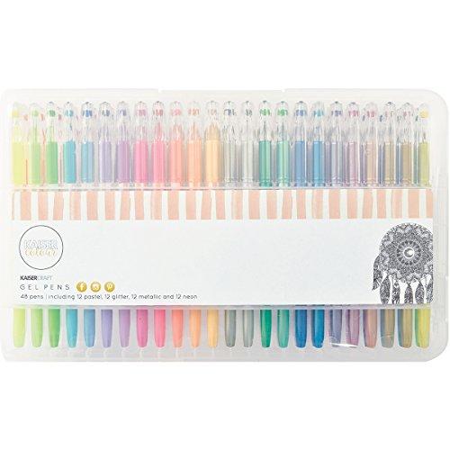 Kaisercraft Gelstift-Set-Glitzer, Pastell, Neon und Metallic-48 Farben, Plastik, Multicolour 28 x 17 x 3 cm